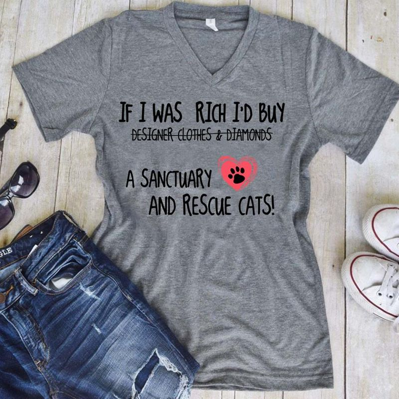 If I Was Rich Id Buy  Sanctuary And Rescue Cats T-Shirt Grey A8