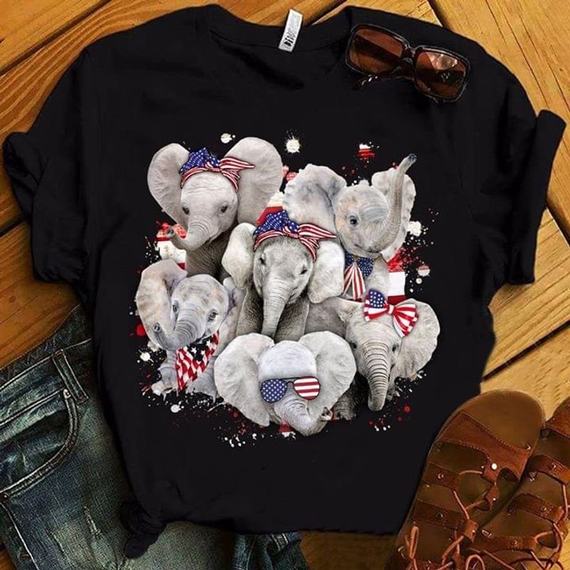 Independence Day Elephants Baby Cute Design For Elephants Lover Black T  T Shirt Men/ Woman S-6XL Cotton Men/ Woman S-6XL Cotton
