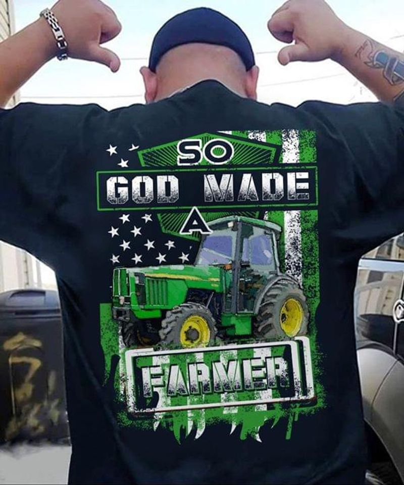 Independence Day Farming Tractors American Flag So God Made A Farmer Black T Shirt Men/ Woman S-6XL Cotton