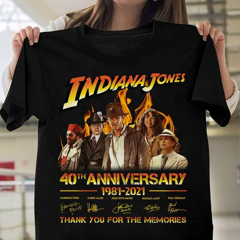 Indiana Jones Jones 40th Anniversary 1981 To 2021 Signatures Of Members Thank You For The Memories Black T Shirt S-6xl Mens And Women Clothing