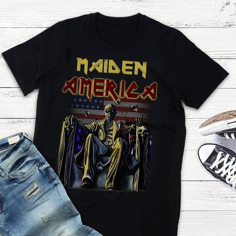 Iron Maiden American Flag Shirt Happy 4Th Of July Independence Day T Shirt Men/ Woman S-6XL Cotton