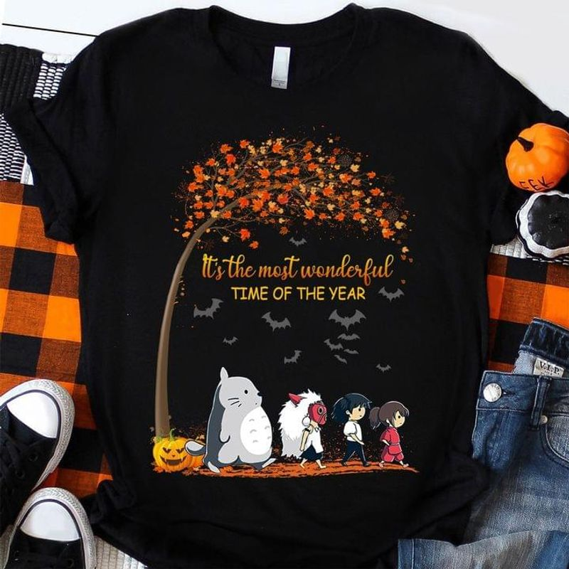It's The Most Wonderful Time Of The Year Tee Totoro And Friends Walking Anime Autumn Halloween Black T Shirt Men And Women S-6XL Cotton