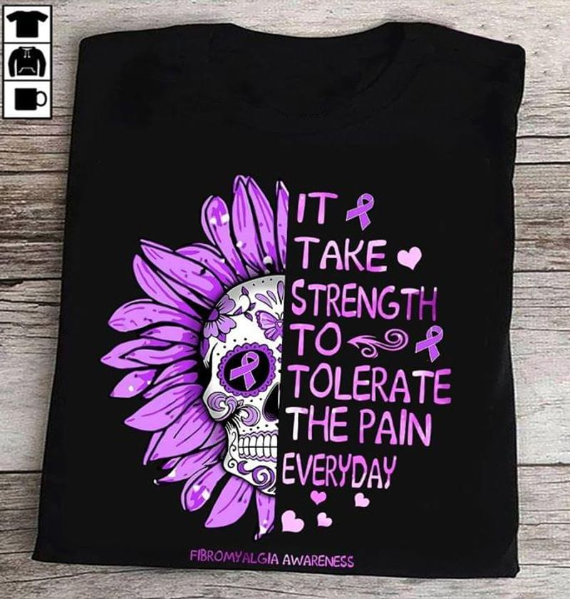 Fibromyalgia Awareness The Lord Is With You Skull Purple Flowers Black T Shirt Men And Women S-6XL Cotton