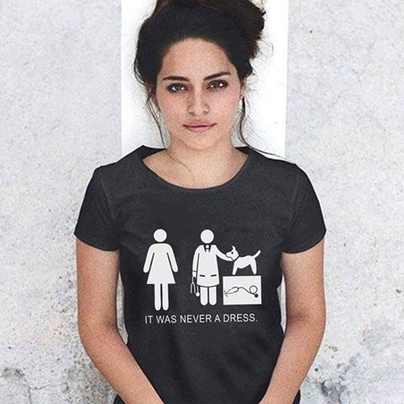 It Was Never A Dress Doctor And Cat T-shirt Black  A8