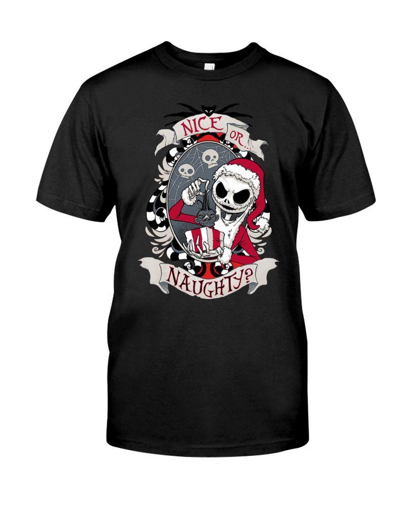 Jack Skellington Christmas Nice Or Naughty Halloween Style Black T Shirt Men And Women S-6XL Cotton