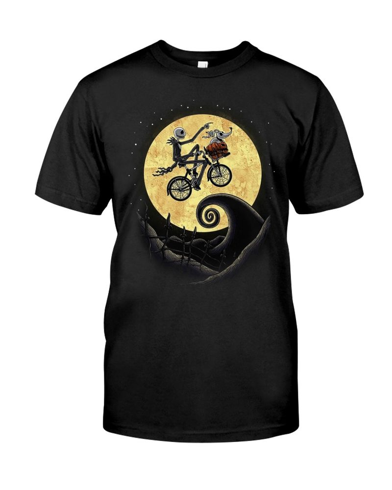 Jack Skellington On A Bike The Shadow On The Moon Halloween Style Black T Shirt Men And Women S-6XL Cotton
