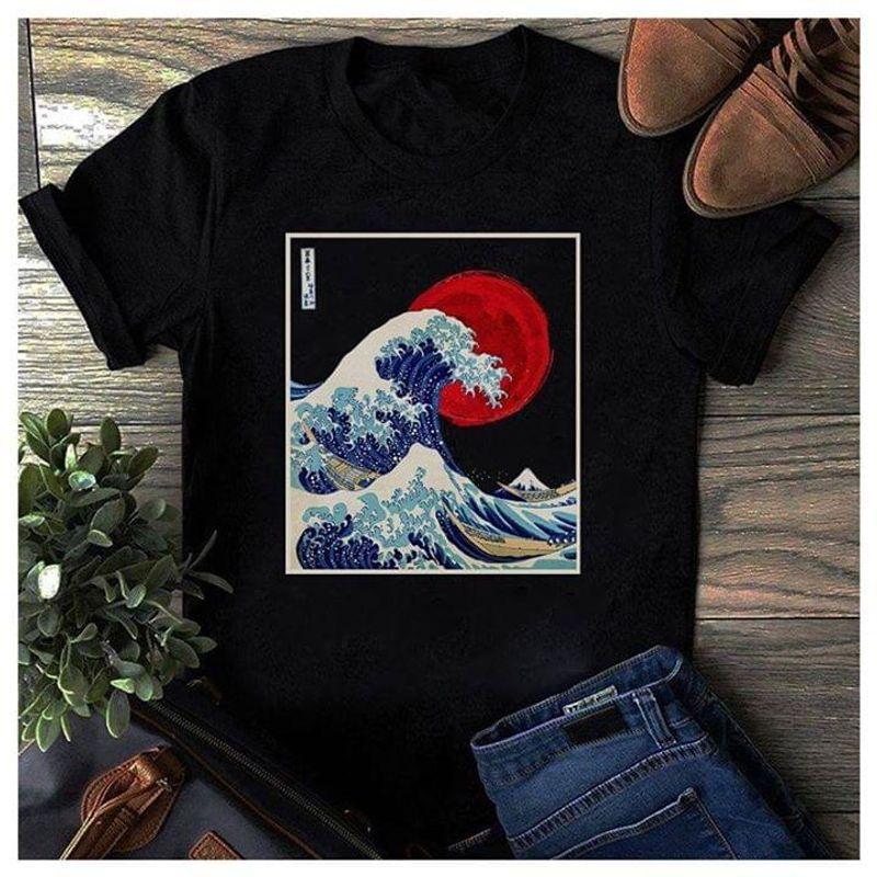 Japanese The Great Wave Off Kanagawa Hokusai Red Sun Black T Shirt Men And Women S-6XL Cotton