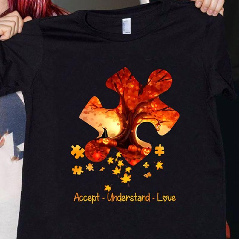 Jigsaw Puzzle Accept Understand Love  T Shirt Black A4