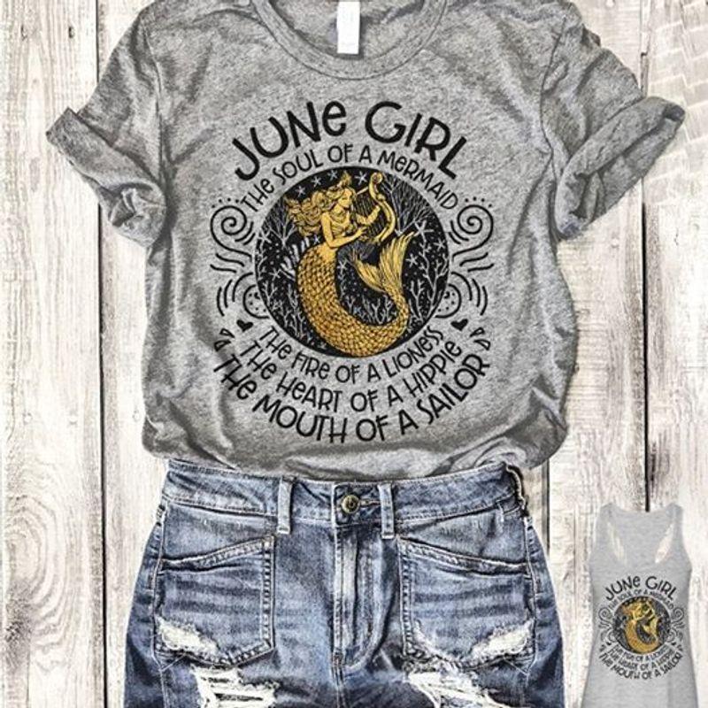 June Girl The Soul Of A Mermaid Gray Shirt