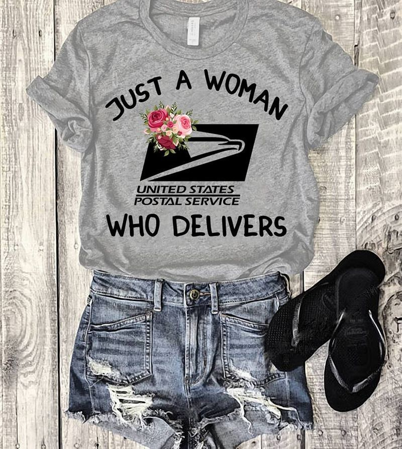 Just A Woman Who Delivers United States Postal Service T Shirt Grey A3