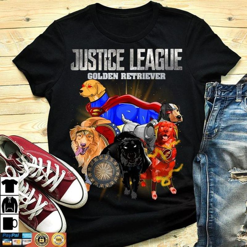 Justice League Golden Retriever Super Dogs Perfect Gift For Dog Lovers Black T Shirt Men And Women S-6XL Cotton