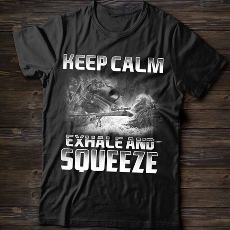 Keep Calm Exhale And Squeeze T-shirt Black B5