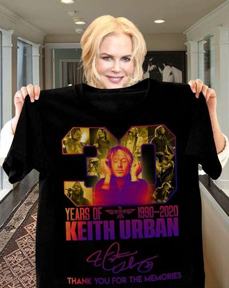 Keith Urban 30 Years Of 1990 2020 Signature Thank You For The Memories Black T Shirt Men And Women S-6XL Cotton