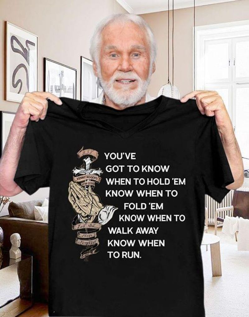 Kenny Rogers The Gambler Lyrics Classic Gift For Fans Idea Black T Shirt Men/ Woman S-6XL Cotton