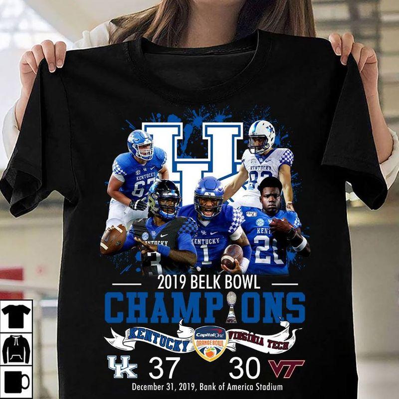 Kentucky 2019 Belk Bowl Champions Kentucky Vs Virginia  T-shirt Black A1