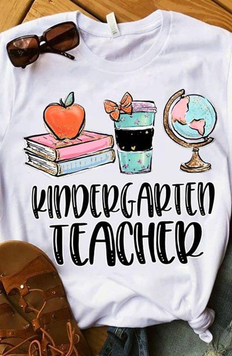 Kindergarten Teacher Coffee Books Apple Ideal Gift WhiteT Shirt Men/ Woman S-6XL Cotton