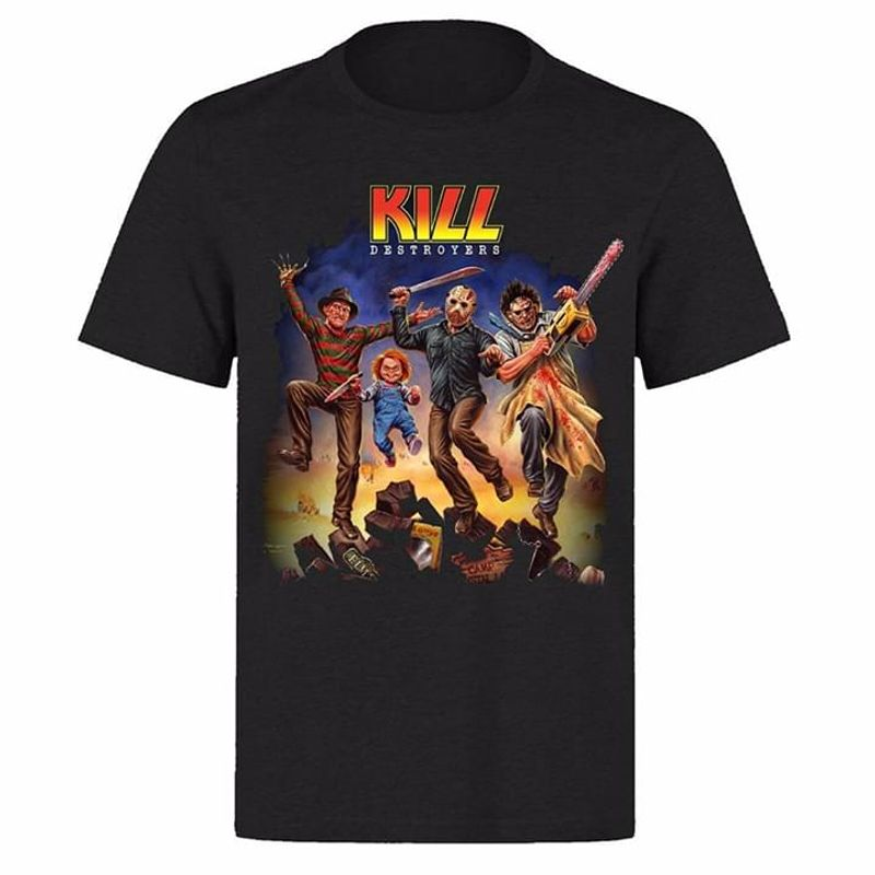 Kiss Band Chucky Jason Voorhees Freddy Michael Myers Kill Destroyers Cover Black T Shirt Men And Women S-6XL Cotton