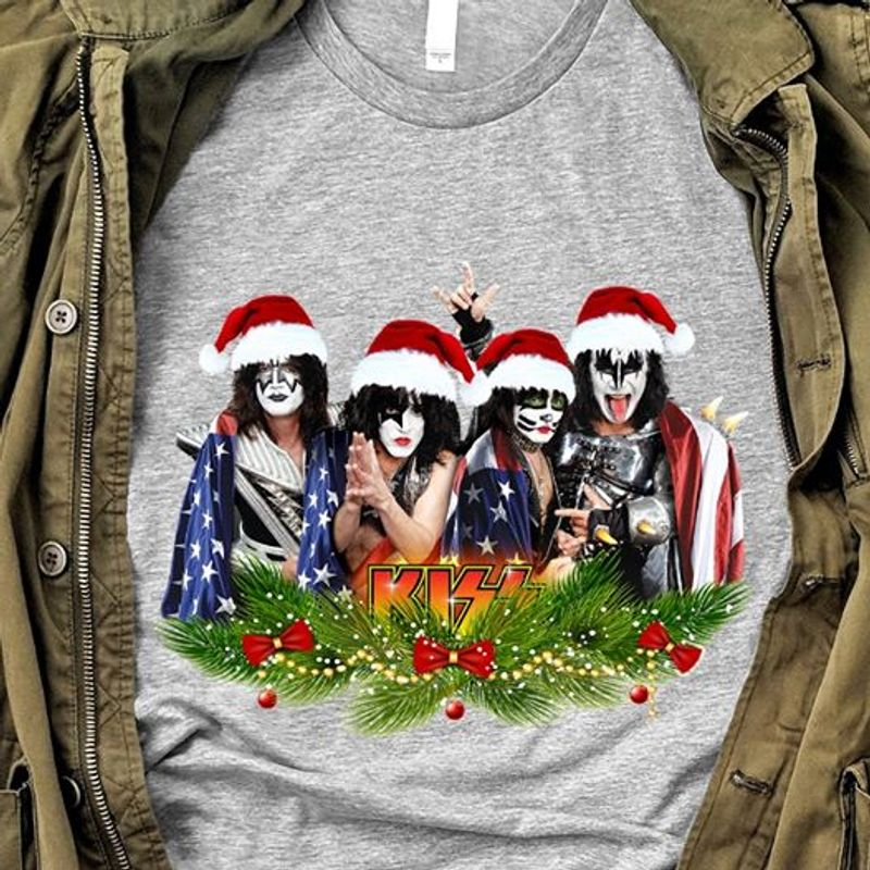 Kiss Band Xmas Vintage Christmas T-Shirt Grey A5