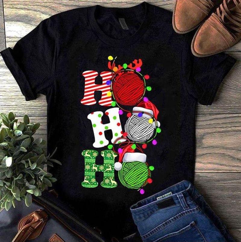 Knitting And Sewing Lover Gift Shirt Hohoho Xmas Chirstmas Gift Idea Black T Shirt Men And Women S-6XL Cotton