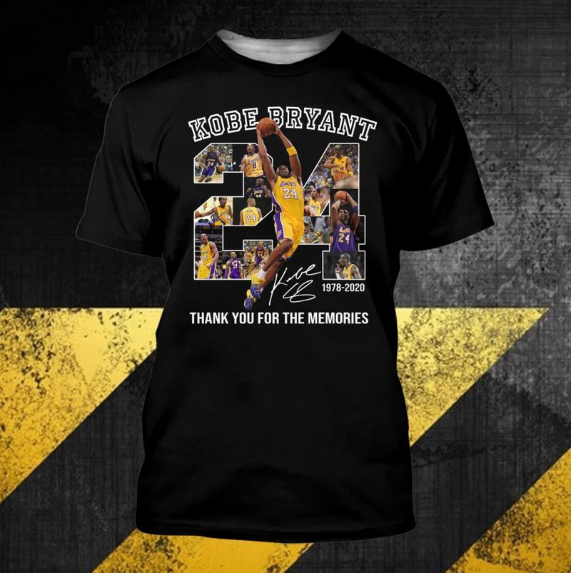 Kobe Bryant 24 Thank You For The Memories T-shirt Black