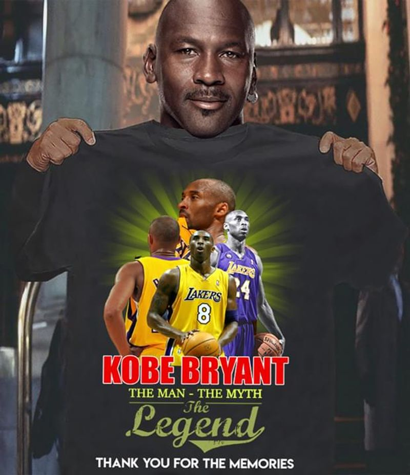 Kobe Bryant Fans The Man – The Myth The Legend Thank You For The Memories Black T Shirt Men/ Woman S-6XL Cotton