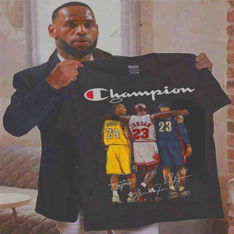 Kobe Bryant Michael Jordan Lebron James Signatures Champion T Shirt Black