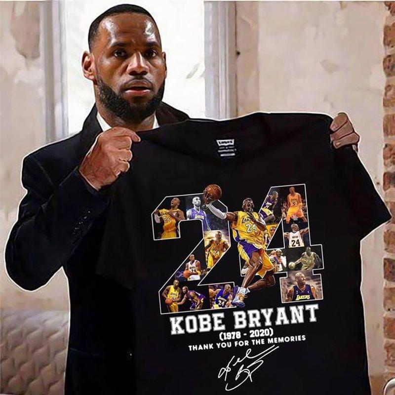 Kobe Bryant Signature NBA Team Lakers Memorial  Black T Shirt