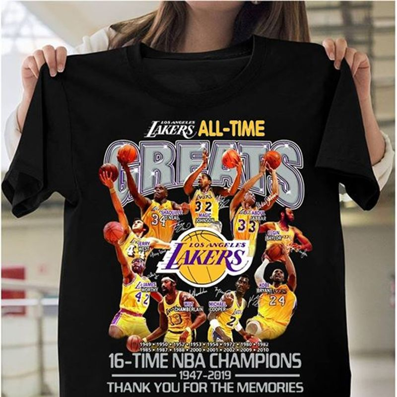 Laker All Time Los Angeles Laker 16 Time Nba Champions 1947 2019 Thank You For The Memories T-shirt Black A4
