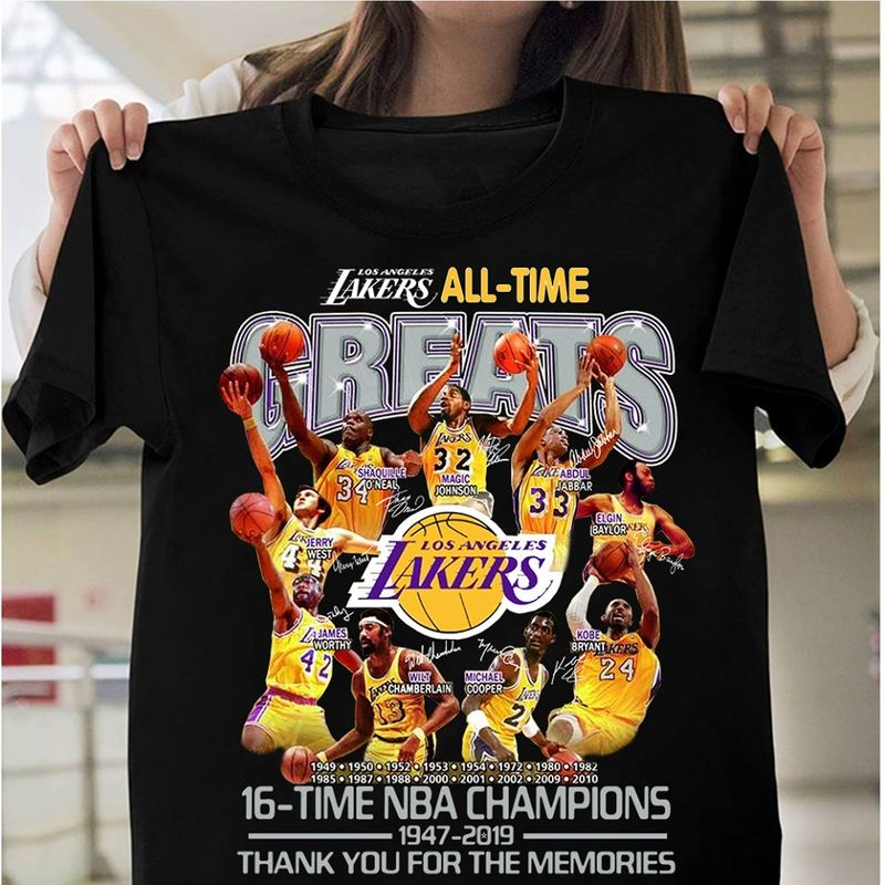 Lakers All Time Greats 16 Time Nba Champions 1947 2019 Thanks You For The Memories  T-shirt Black B1