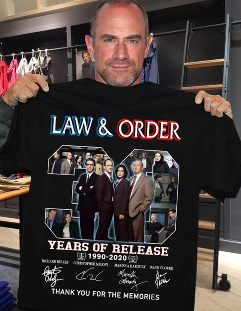 Law And Order Tv Series Fans 30 Years Of Release Thank You For The Memories Signature Member Black T Shirt Men And Women S-6XL Cotton