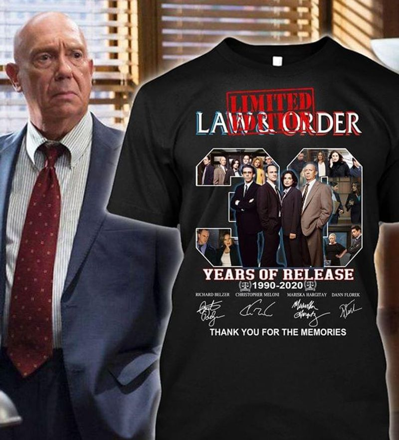 Law & Order Fans 30 Years Of Release 1990 2020 Signatures Shirt Black T Shirt Men And Women S-6XL Cotton
