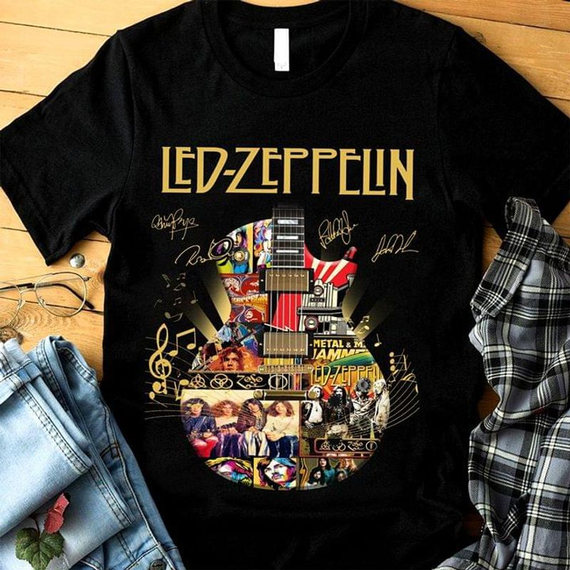 Led-Zeppelin Fans Signature Black T Shirt Men/ Woman S-6XL Cotton
