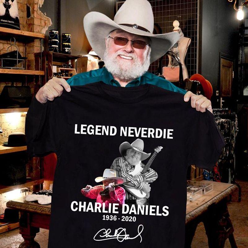 Legend Never Die Charlie Daniels Signature Best Gift For Fans Black T Shirt Men/ Woman S-6XL Cotton