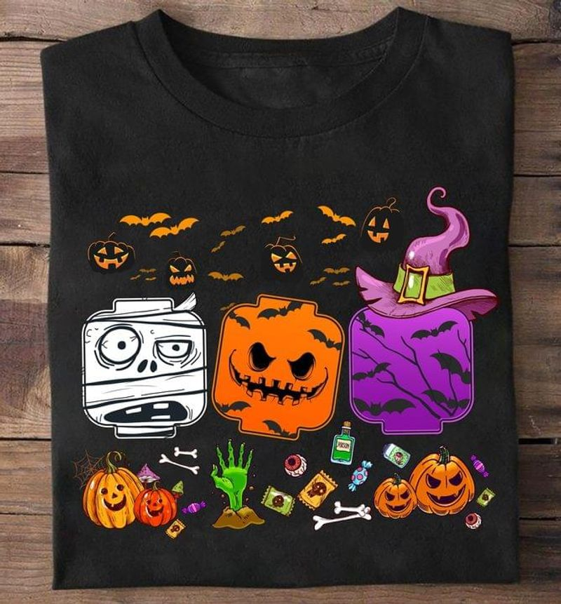 Lego In Halloween Costume Pumpkins Halloween Gift Idea For Game Lovers Black T Shirt Men And Women S-6XL Cotton