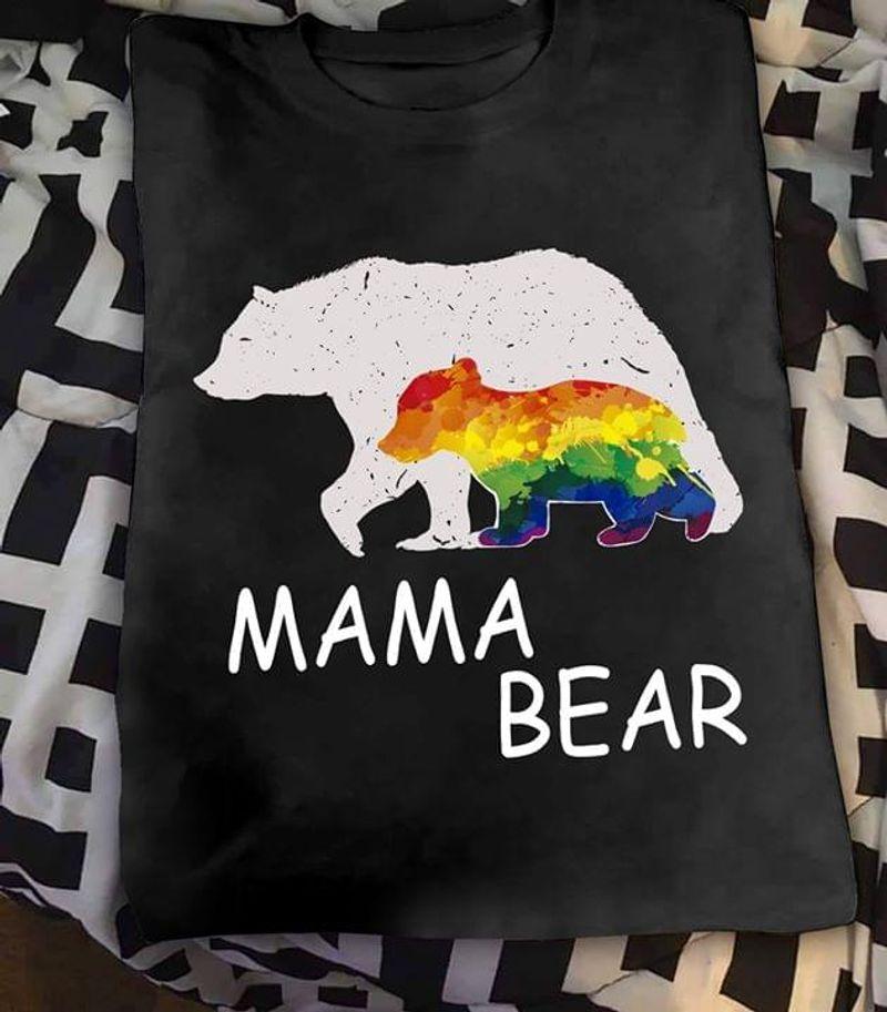 Lgbt Family Support Mama Bear Rainbow Bear Gay Pride Black T Shirt Men/ Woman S-6XL Cotton