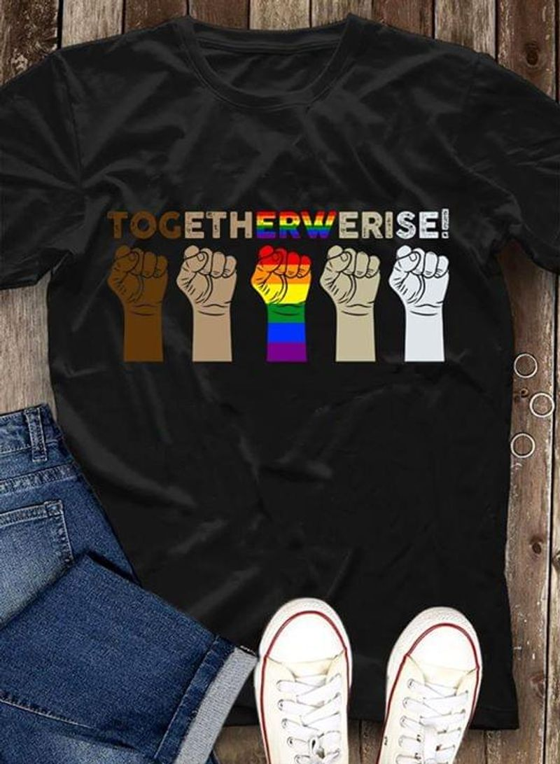 LGBT Hands Togetherwerise T Shirt S-6XL Mens And Women Clothing