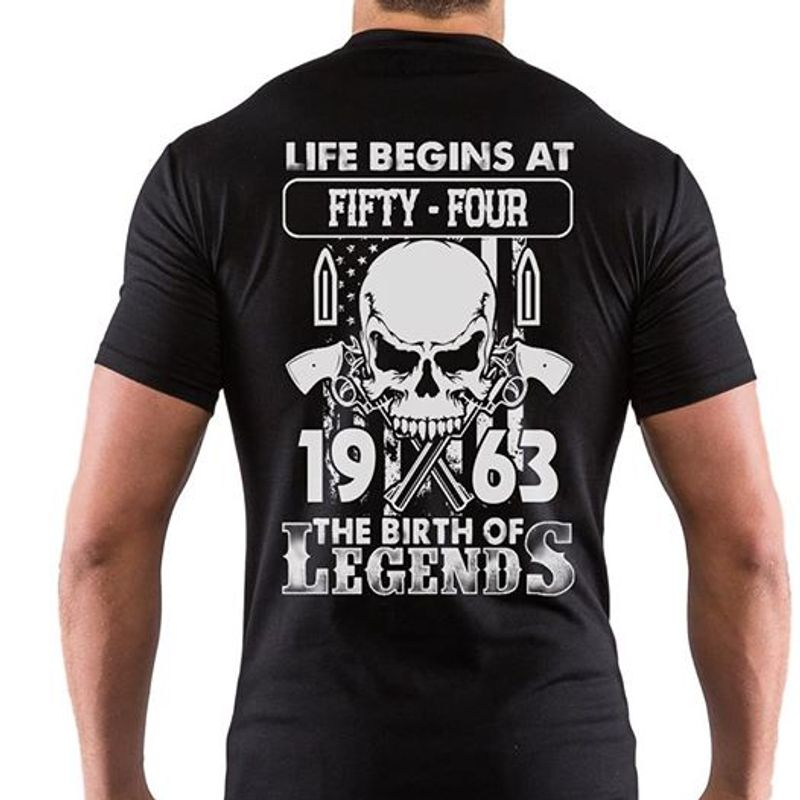 Life Begins At Fifty Four 1963 The Birth Of Legends Skull T-shirt Black B5