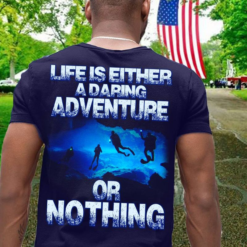 Life Is Either A Daring Adventure Or Nothing T Shirt Navy A4