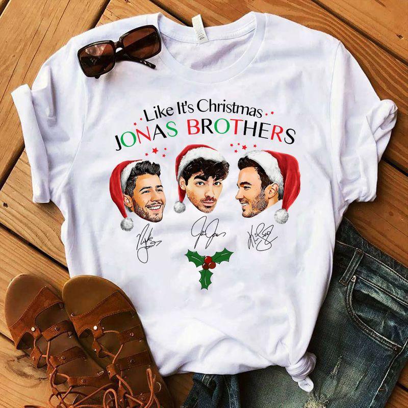 Like It Is Christmas Jonas Brothers T Shirt White C2