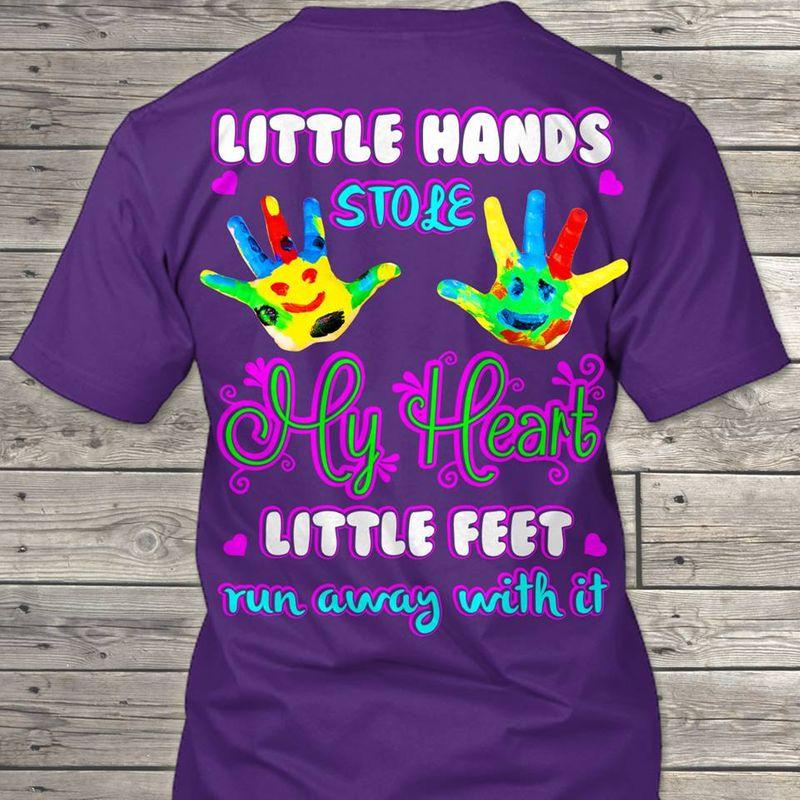 Little Hands Stole My Heart Little Feet Run Away With It T-shirt Purple B7