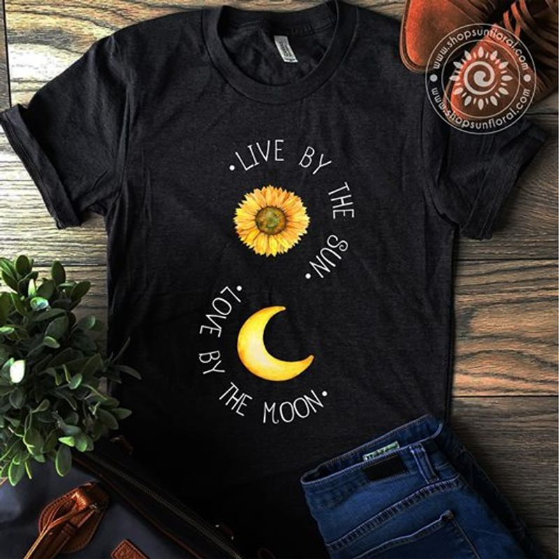 Live By The Sun Love By The Moon T-Shirt Black A8