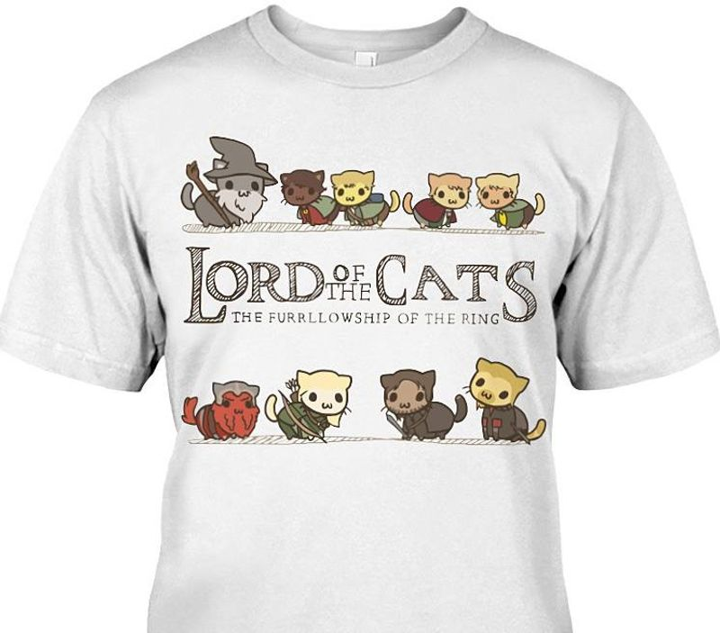 Lord Of The Cats The Furrllowship Of The Ring Tshirt White B4