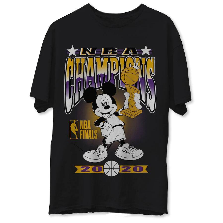 Los Angeles Lakers Junk Food 2020 NBA Finals Champions Mickey Trophy T-Shirt