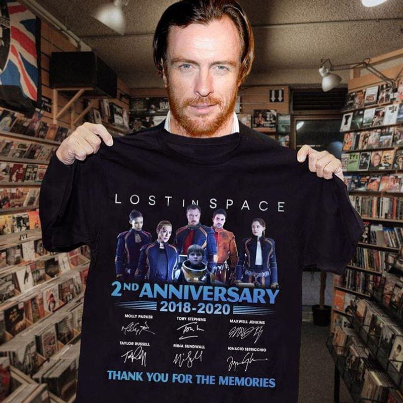 Lostin Space Fans 2nd Anniversary Thank You For The Memories Signature Black T Shirt Men And Women S-6xl Cotton