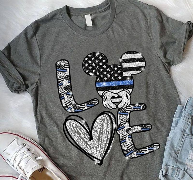 Love Mickey Mouse Us Flag 4Th Of July Independence Day Dark Heather T Shirt Men/ Woman S-6XL Cotton