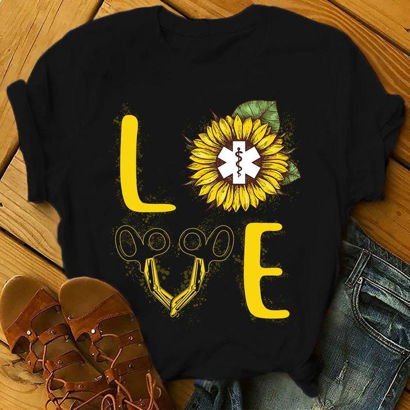 Love Sunflower Emt Logo T Shirt Black A3