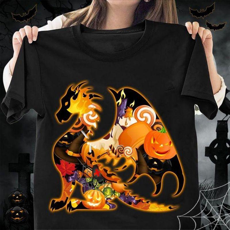 Lovely Dragon Halloween Pattern Pumpkins Cute Design Black T Shirt Men And Women S-6XL Cotton