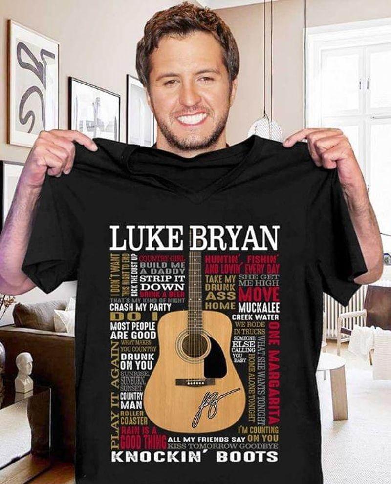 Luke Bryan Music Songs Luke Bryan Signed Best Gift For Luke Bryan Fans Black T Shirt Men And Women S-6xl Cotton
