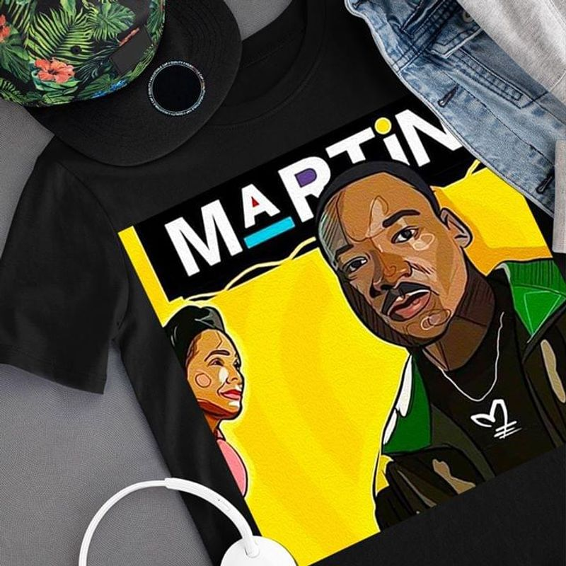 Martin Picture Male Looking Background Yellow Female Suitable For Men Who Like Street Style Black T Shirt S-6xl Mens And Women Clothing