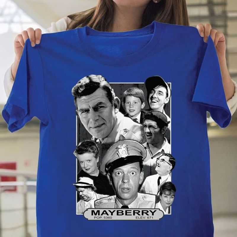 Mayberry Police And Male Boy Wrapped Canvas / Paper Poster Without Framed Full Size Interesting Gift For Film Lover Blue Shirt